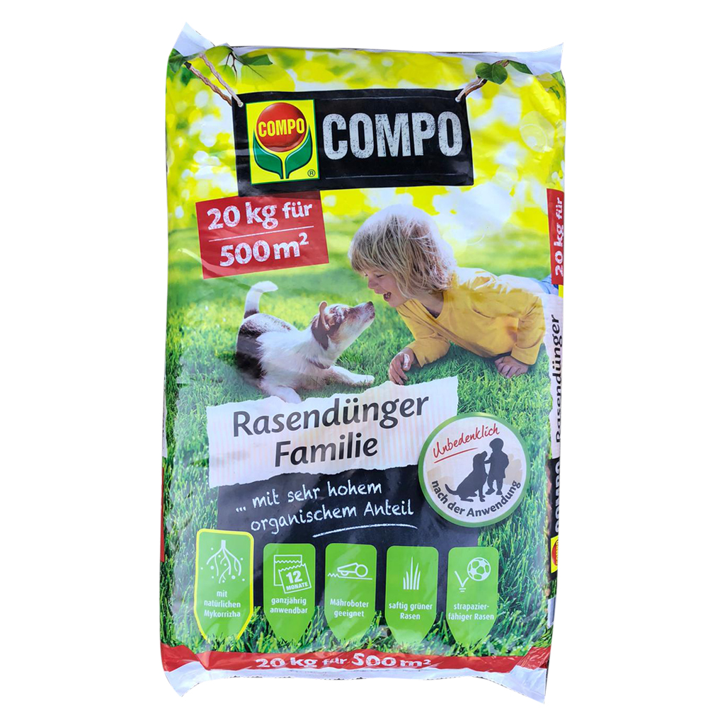 Compo Rasendünger Familie / 20kg für 500m²